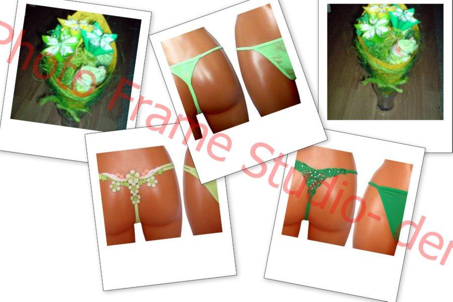 zielony bukiet ze stringami