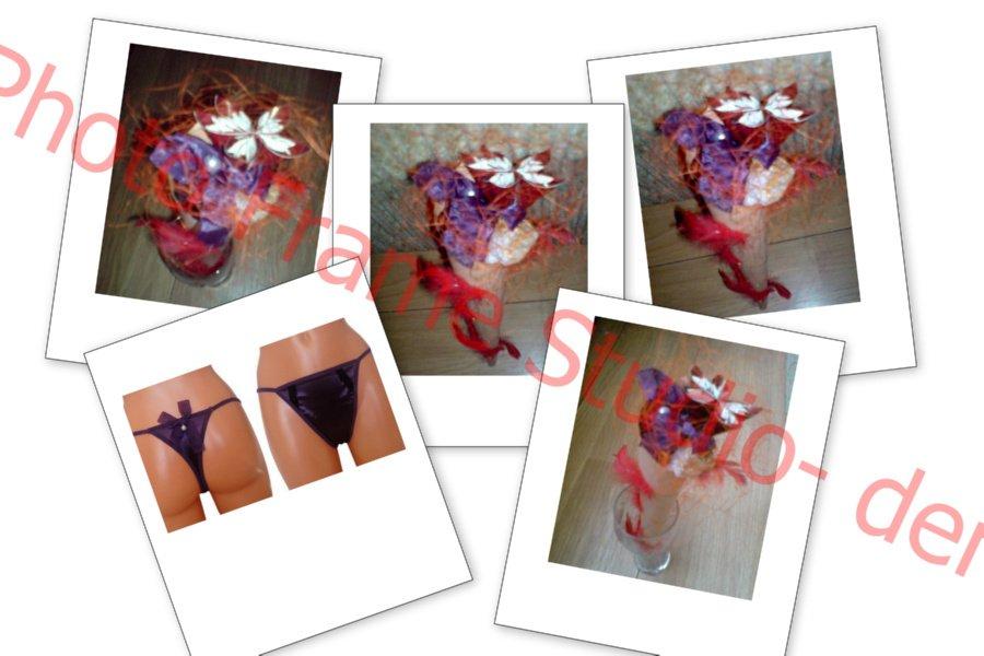 fioletowy bukiet ze stringów