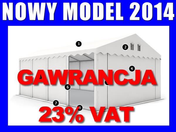 Namiot Magazynowy 6m x 8m STANDARD PLUS - nowy model