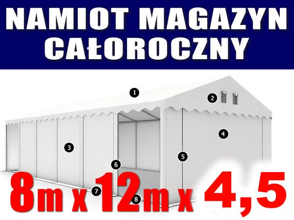 Namiot Magazynowy 8m x 12m  PROFESSIONAL - nowy model