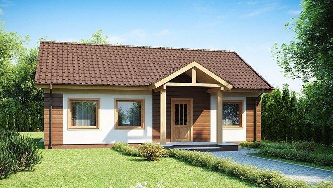 elewacja drewniana imitująca dom z bala