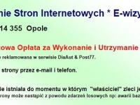 Tworzenie Stron Internetowych * E-wizytówki * Opole Tel. 881 314 355