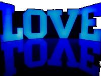 Kolorowe LOVE podświetlane RGB z licem i bokami z plexi, 80