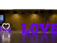 Kolorowe LOVE podświetlaneRGB z licem i bokami z plexi 80cm