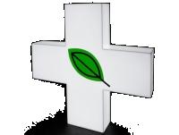 Jednostronny KRZYŻ APTECZNY podświetlany LED 80 cm