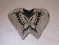 Jedwabna wieczorowa bluzka, tunika motyl z cekinami, rozm. M / L / XL