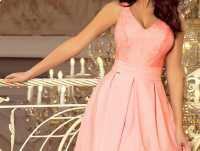 BEATRICE Sukienka z koronkowym dekoltem i kontrafałdami