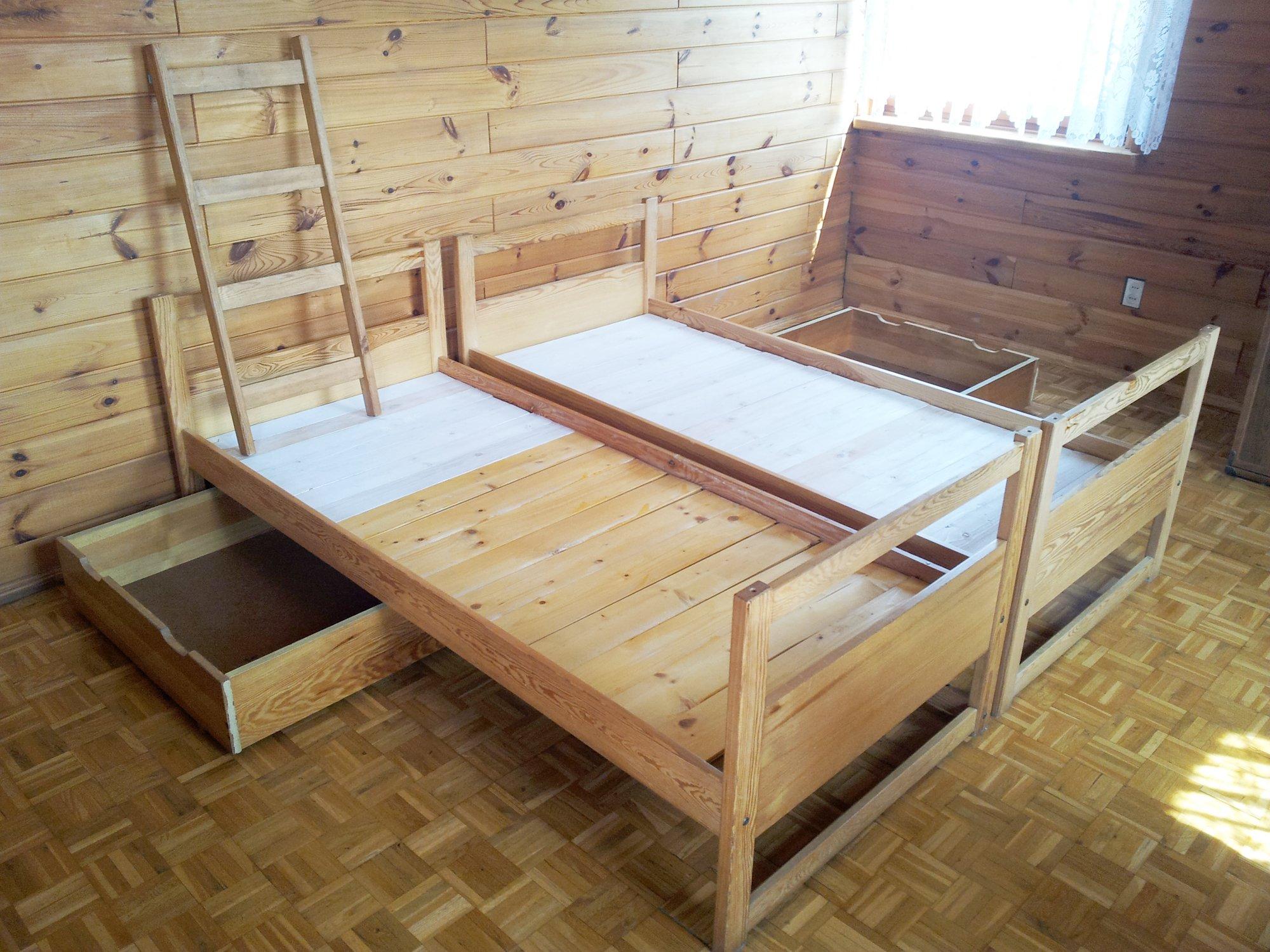 DREWNIANE łóżko piętrowe + drabinka