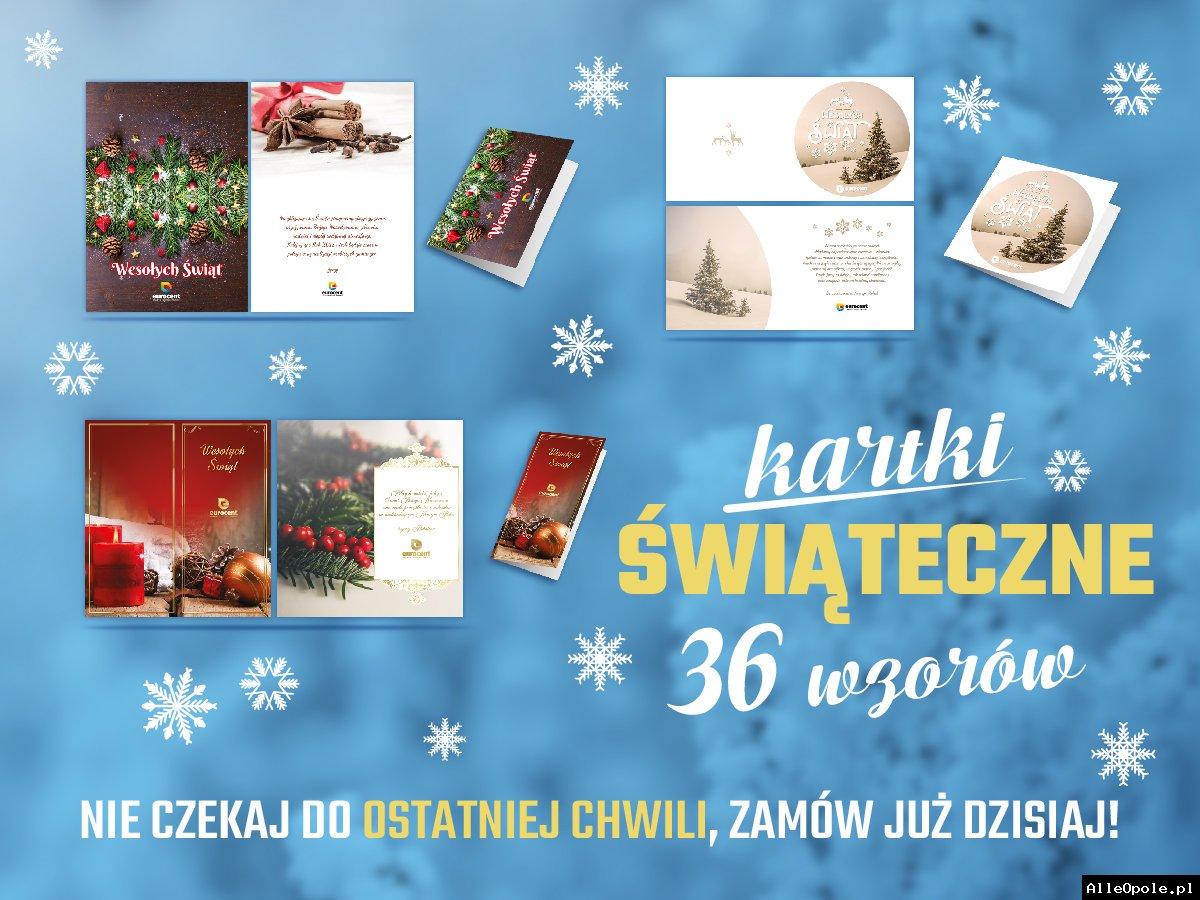Firmowe kartki świąteczne z logo oraz życzeniami
