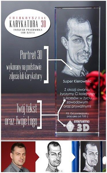 Fotokryształ Karykatura 3D na nagrodę z okazji awansu!