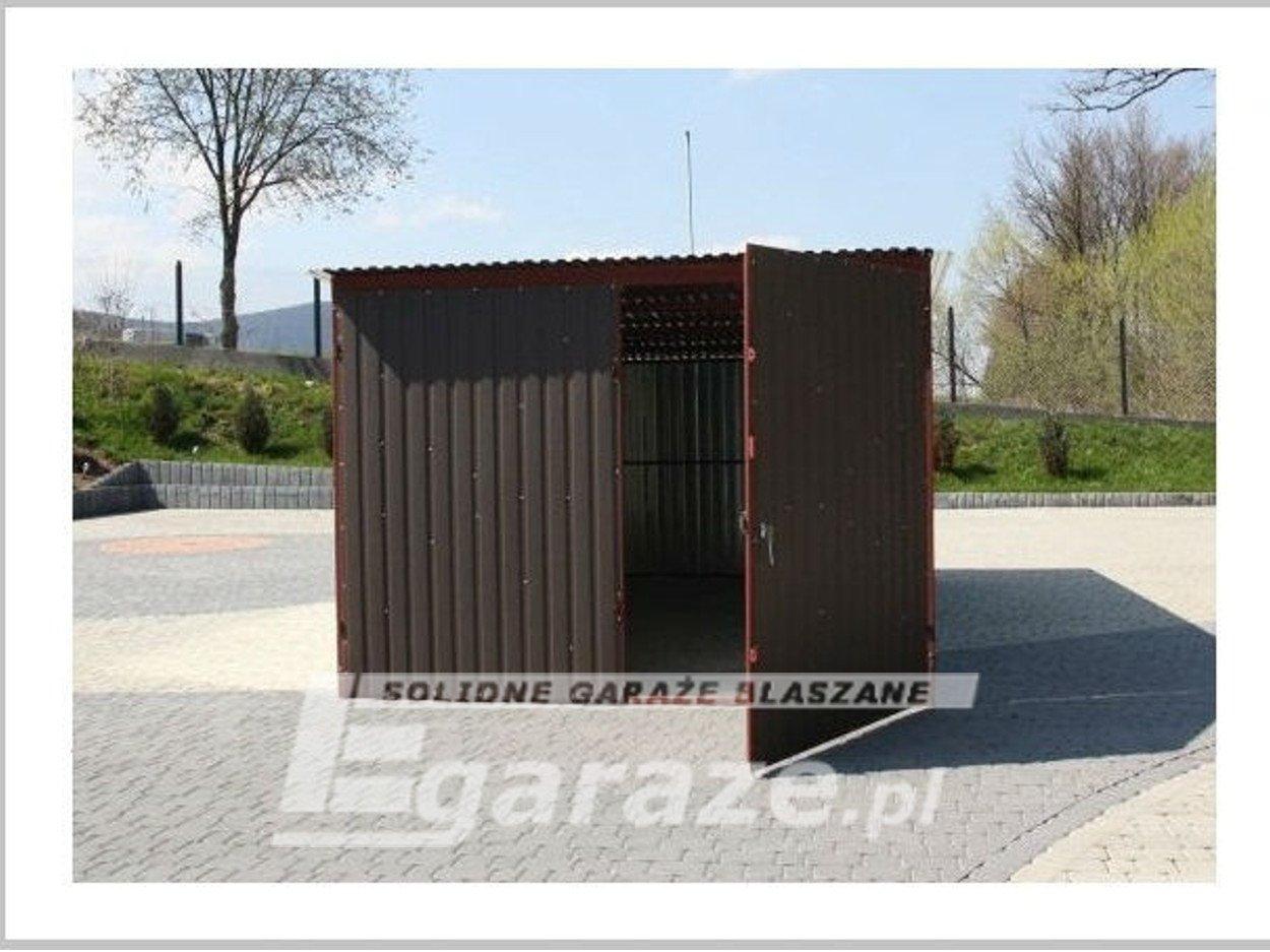 Garaż blaszany blaszak 3x5 brama dwuskrzydłowa blacha akryl