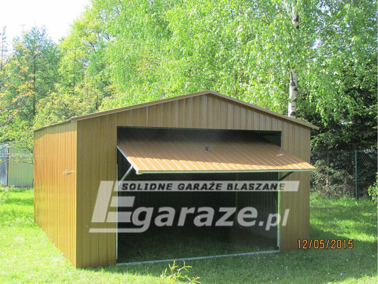 Garaż blaszany blaszak 3x5 brama uchylna dach dwuspadowy blacha akryl