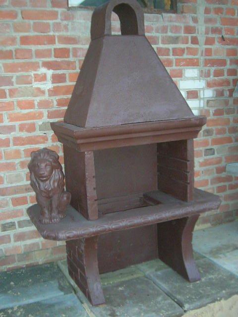 Grill z lwem betonowy grillowanie kominek ogrodowy