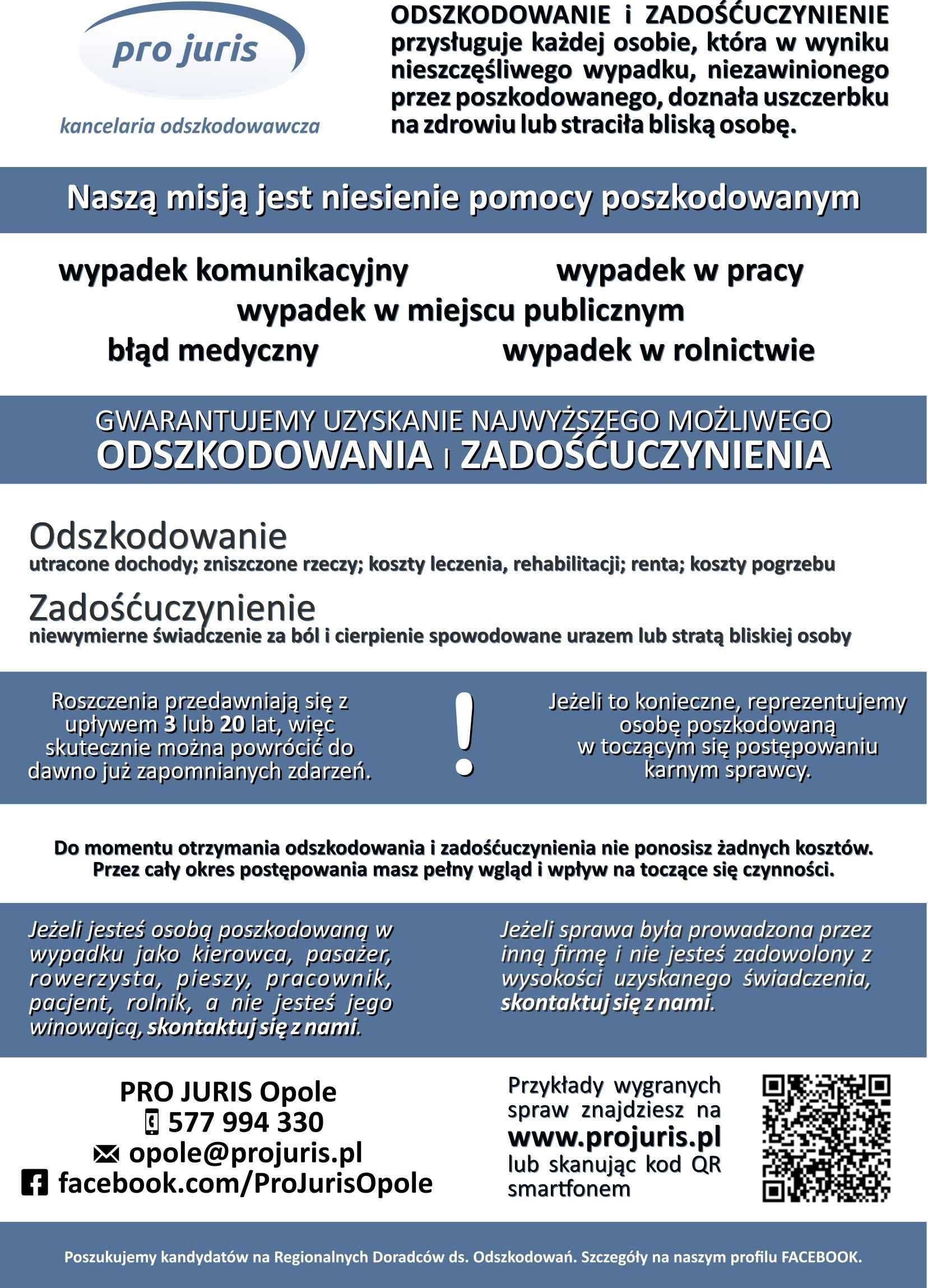 Gwarantowane najwyższe odszkodowanie i zadośćuczynienie – Pro Juris Opole