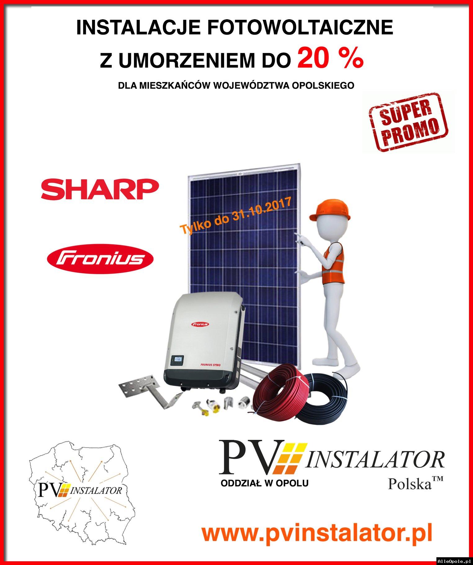 Instalacje fotowoltaiczne z 20 % umorzeniem pożyczki. Obniż rachunki za prad nawet o 80 %
