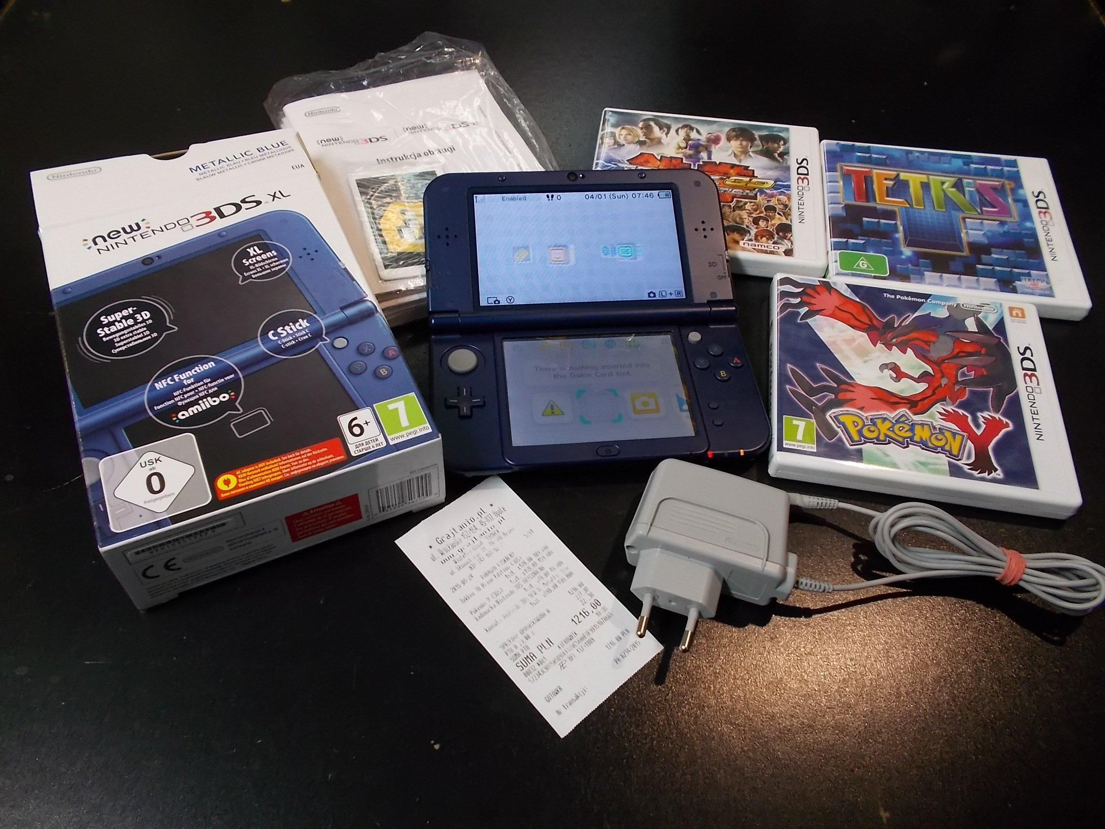 Konsola Nintendo New 3DS XL Metallic Black + trzy gry Gwarancja - Sklep