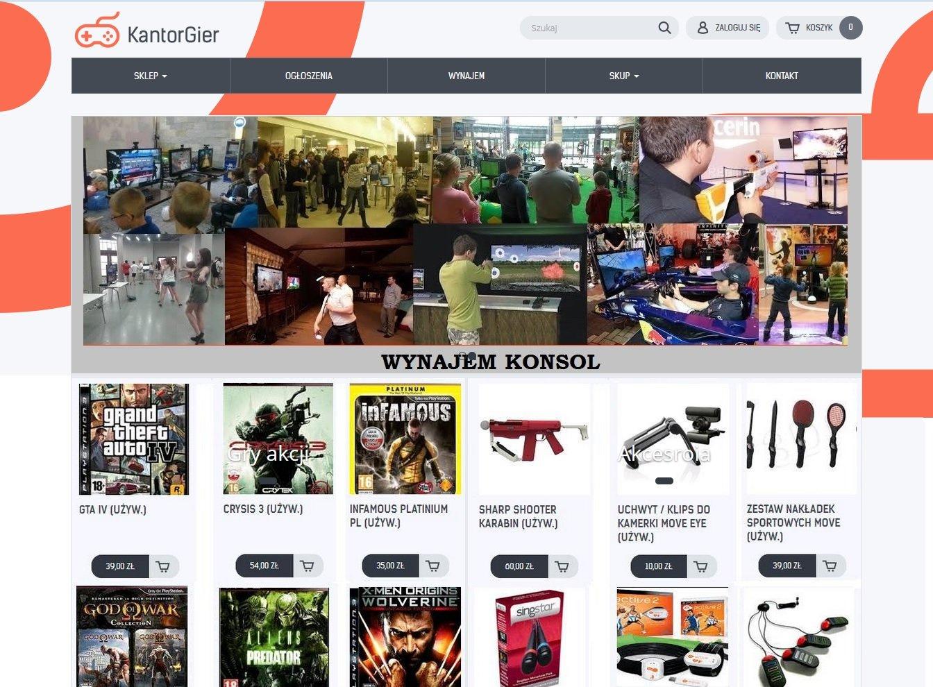 Konsole/Gry/Akcesoria/Wynajem www.kantorgier.pl