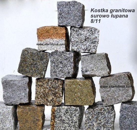 Kostka Granitowa 8/11 STAROBRUK NOWOŚĆ kostka surowa otaczana kolor mix szary mix