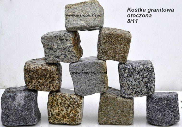 Kostka granitowa 8/11 otoczona kolor mix starobruk producent Wrocław