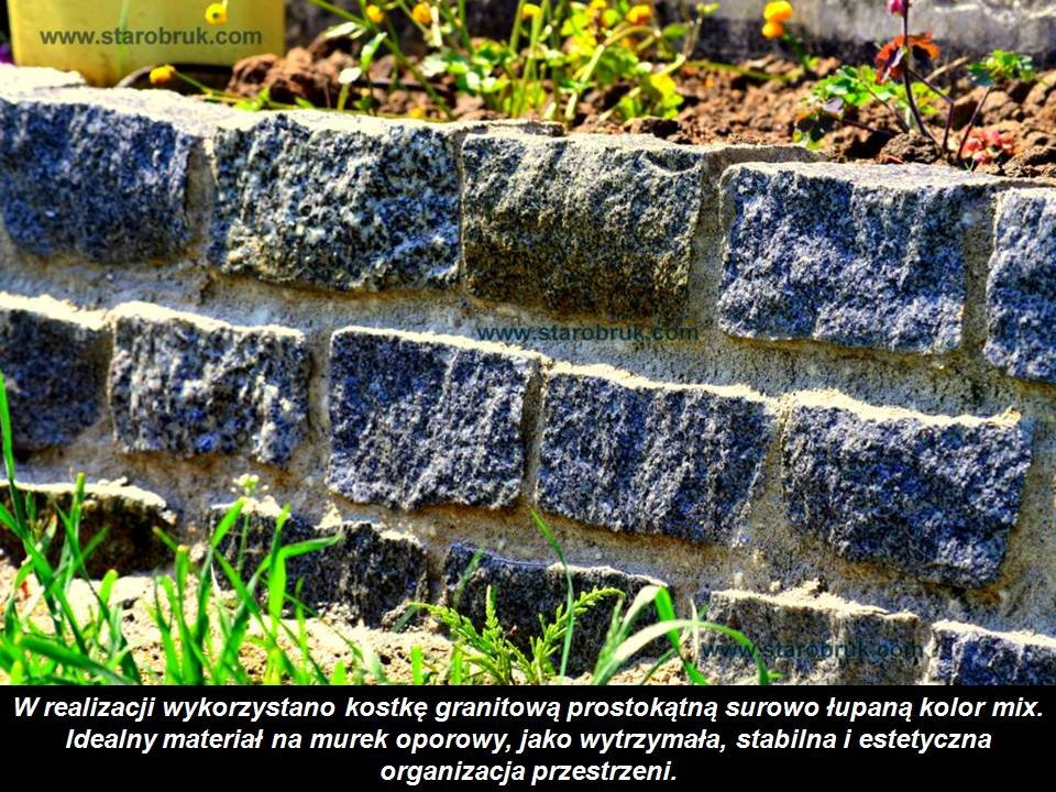 Kostka granitowa prostokątna surowo łupana kolor mix na murki, słupki, ogrodzenia, obramowania, grille