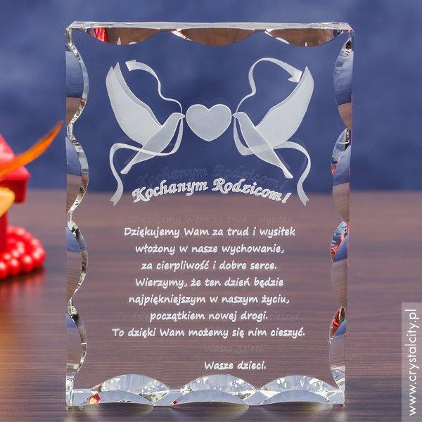 Kryształ 3D »Gołąbki Miłości« w prezencie dla rodziców w dniu Twojego ślubu!