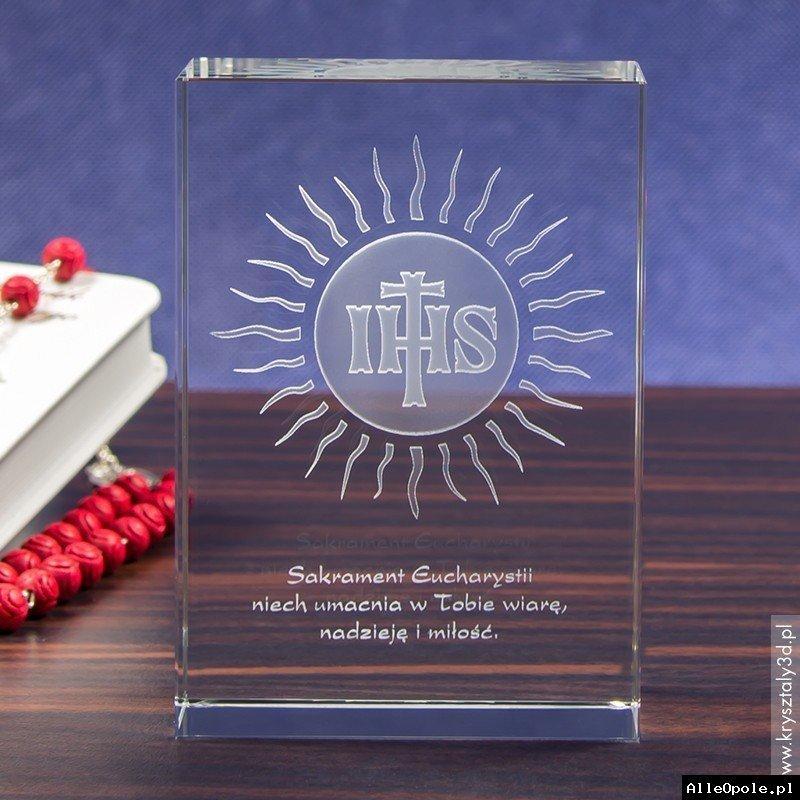 Kryształ 3D z motywem hostii z okazji Pierwszej Komunii