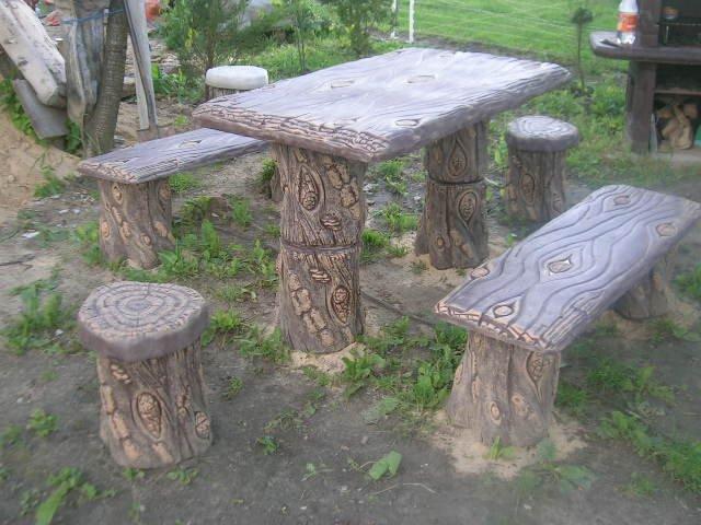 Meble ogrodowe betonowe komplet - imitacja drzewa