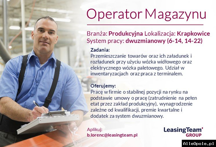OPERATOR MAGAZYNU - OFERTA PRACY