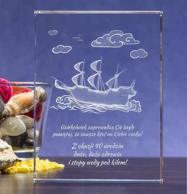 Prezent dla marynarza - kryształ 3D »Żaglowiec 3D« z Twoją dedykacją