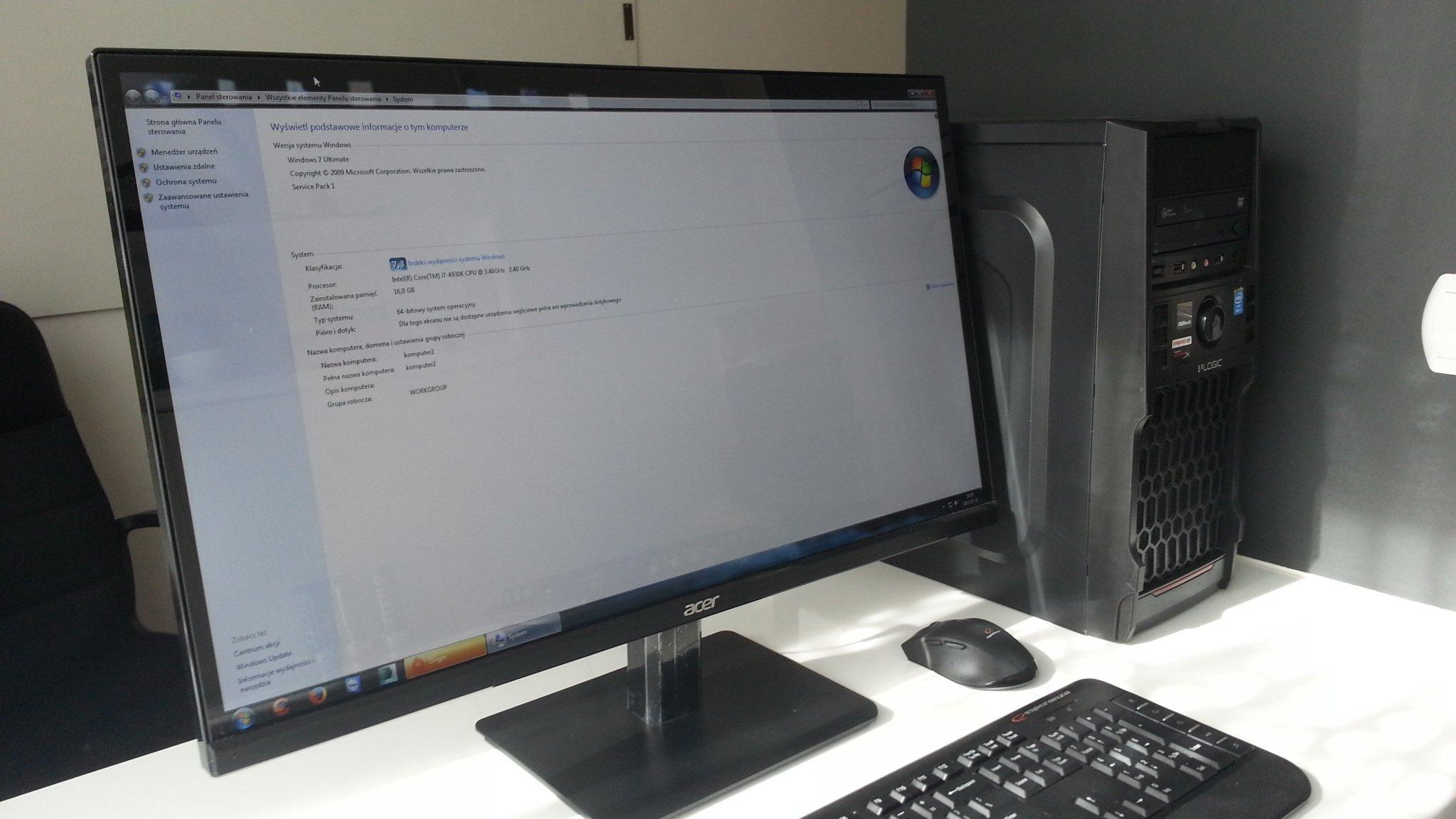 Stacja graficzna - KOMPUTER PC I7 4930K 16GB RAM + Monitor 27