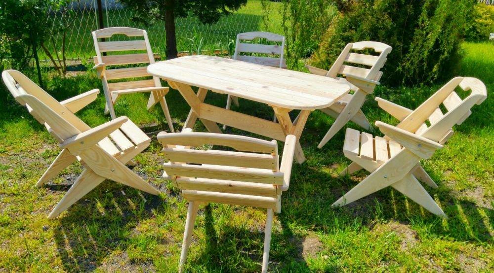 Zestaw solidnych mebli ogrodowych, stół i 6 krzeseł